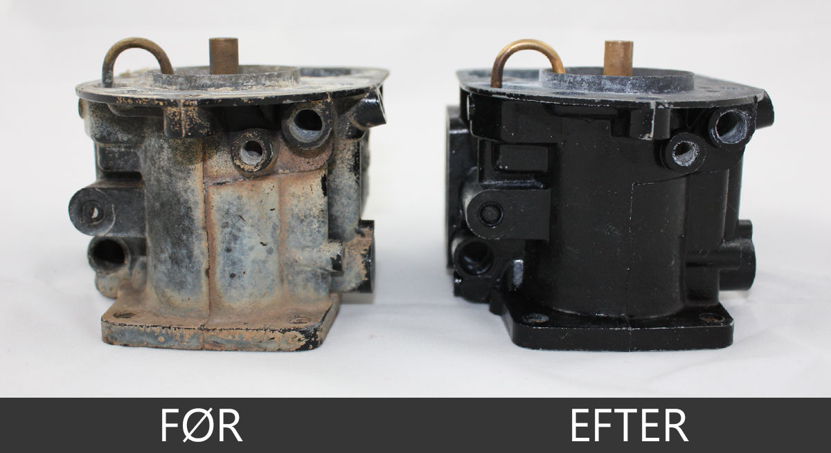 Ultralydsrensning af saltvandsskadet karburator